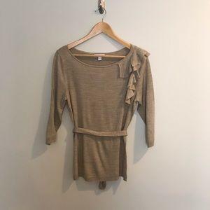 NEW New York & Company Tan Gold Ruffle Sweater M